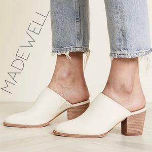 NIB Madewell Harper cream leather mule slides 10